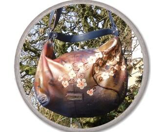 PAINTED HANDBAG - SAKURA BaG - everyday bag - Cherry blossom bag - faux leather bag - Tote bag - blue womens Shoulder Bag - zipper tote