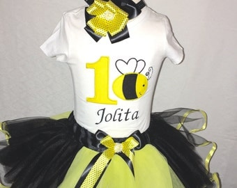 Bumble bee tutu set, bumble bee outfit, bumble bee 1st birthday party, bee tutu set