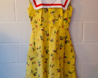 Vintage 1950's Canary yellow cherry pinup sailor dress