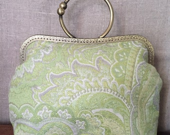 Brocade bag with metal clasp-Vintage style