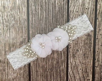 White headband, rhinestone headband, flower girl headband, vintage headband, lace headband, rhinestone and pearl, flower girl