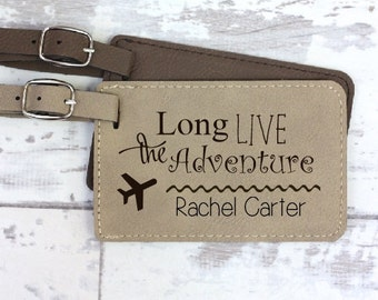 Engraved Luggage Tag - Personalized - Long Live The Adventure