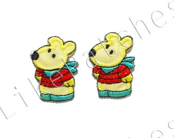 Set 2 pcs. Animal Cartoon - Yellow Color - Super Cute Sew / Iron on Patch Embroidered Applique Size 2.7cm.x3.9cm.