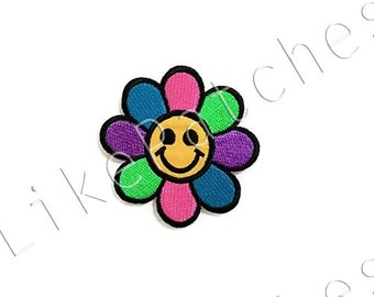 Happy Smiley Face Daisy Flower Rainbow Color New Sew / Iron On Patch Embroidered Applique Size 7.6cm.x7.5cm.