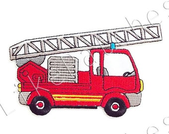 Fire Truck Patch - Red Truck Cute Patch - Sew / Iron On Patch Embroidered Size 10.3cm.x6.3cm.
