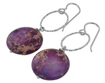 Purple Earrings,Lilac Jasper Gemstone,Silver Earrings,Ashanti Jewels,Sweet 16 Gift,2016 Trends,Drop Earrings,Dangle Earrings,Long Earrings