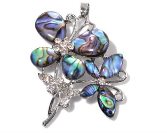 Flowers Abalone Shell Pendant in Silver-tone Without Chain