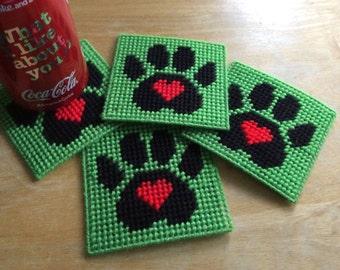 Coasters: Paw print love coaster set of 4