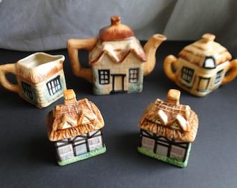 Cottage  Tea Set with Salt and Pepper Set made in Japan/Cottage Teapot/ Salt and Pepper Shakers