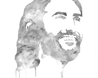 Grey and white watercolor painting of Jesus Christ the Savior