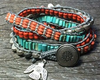 Southwestern turquoise and coral four-wrap bracelet