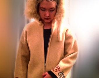"""Inuit Coat - Vintage Holman Wool & Fur Coat """"Handmade by Eskimos"""" FREE SHIPPING!!"""