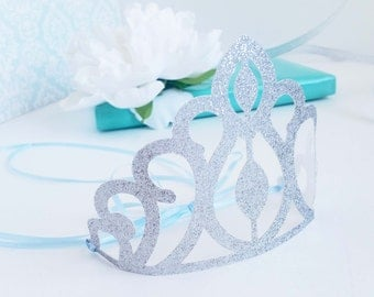 Frozen crown party favor - Silver glitter party decor - Ice princess - Princess crown - Gold crown - Gold crown favor - Elsa princess 4CT