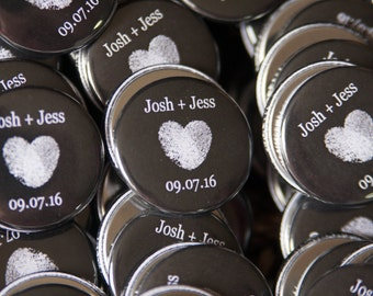 "50+ wedding favor magnets 1.5"" size - personalized -  wedding favors with heart and date"