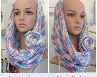 SALE 50% off Super soft pretty hand knitted infinity scarf /cowl