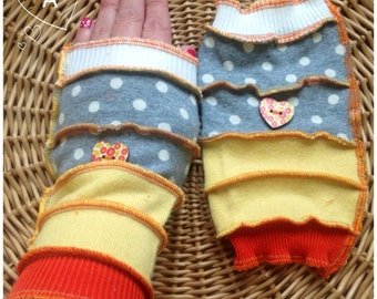 Wrist warmers, fingerless gloves, upcycled jumpers recycled mittens arm warmers