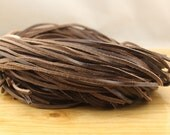 ETS-P015 leather string, flat leather cord, 3MM*2MM Dark coffee real leather cord,  leather strip, 10 yards