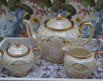 Sadler Tea Set, Teapot, Sugar Bowl, Milk Jug, Globe Shape,Pearl Lustre with Gilt, Vintage English Pottery, Good condition