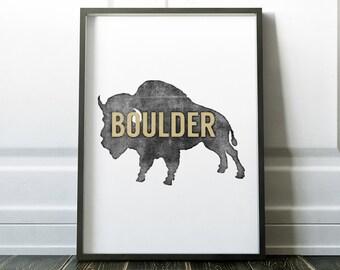 Colorado Buffaloes Inspired Art Print   Boulder Colorado