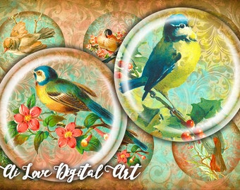 Vintage Birds digital download cabochon circle 1 inch, 1.5 inch, digital collage sheet, instant download, bottlecaps images, jewelry making