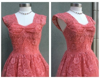 HUGE SALE 1950's Coral Pink Lace & Tulle Party Dress Medium 36-28-full