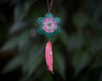 Handmade painted & riveted brass flower and feather pendant necklace