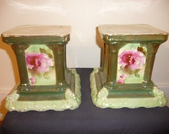 Antique pair of polychrome porcelain plant stands - circa 1900