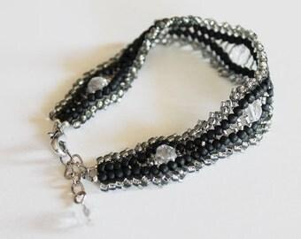 Herringbone bracelet silvered and black