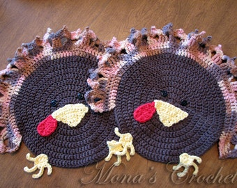 Hand Crocheted Set of 2 Turkey Placemats   Thanksgiving Placemats   Turkey Table Linens   Thanksgiving Table Linens    Fall Placemats