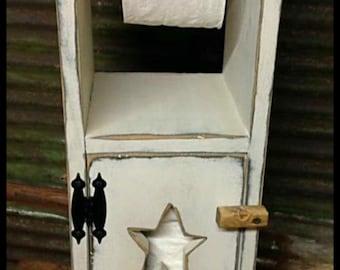 Primitive Toilet Paper Holder Bathroom Cabinet Dispenser Wood Toiletpaper Black or White...Star or Moon cutout