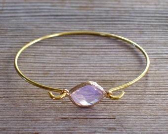 Pale Pink Glass Bracelet, Gold Bangle Bracelet, Pink Gold Bracelet, Minimalist Bangle, Bridal Bangle, Layering Bracelet, Bridesmaid Gift