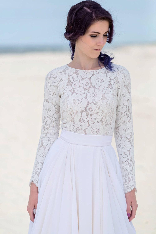 Eirene modest wedding dress simple wedding dress bridal for Long sleeve wedding dress topper
