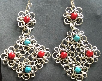 Sterling Silver Filigree earring with natural stones