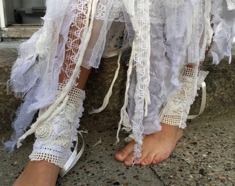 Lace leg warmers, handmade leg cuffs,wedding cuffs,victorian lace cuff,wedding accessories,cuffs, boho cuffs,boho leg warmer,repurposed
