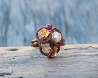 Copper ring, bohemian ring, size 8 ring, boho ring, wire wrapped ring, artisan ring, citrine ring, boho ring, gemstone ring, citrine jewelry