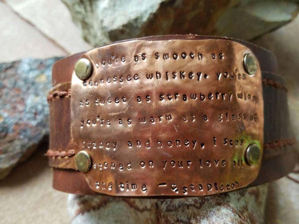 Lyric lyrics to tennessee whiskey : Chris Stapleton Lyrics from Tennessee Whiskey stamped copper cuff ...