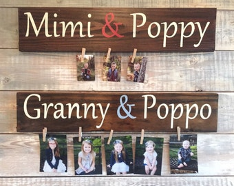 Great gift for Valentine's Day! - Personalized sign for Grandparents with twine for pictures- Established date - Distressed - Grandparent's
