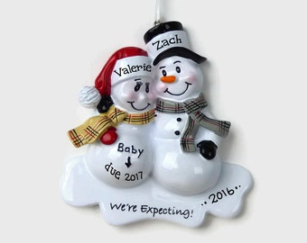 30% OFF SALE - Expecting Parents Personalized Ornament - Snowman Couple - We're Expecting! - Hand Personalized Christmas Ornament