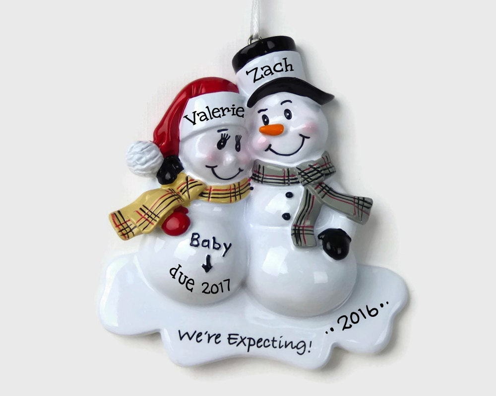 Personalized couples christmas ornaments - 30 Off Sale Expecting Parents Personalized Ornament Snowman Couple We Re