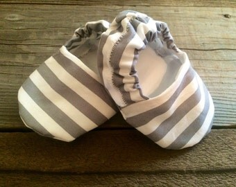 Grey and white striped baby booties