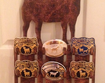 Personalized 6 Belt Buckle Display Rack for Livestock and Rodeo Buckles: Perfect for 4-H, FFA, and Rodeo Competitors