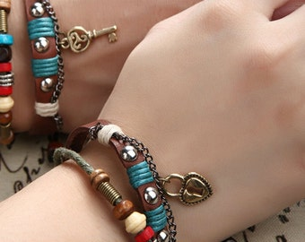 Couples Bracelets, His and Hers Leather Bracelets, Couples Jewelry, Lock and Key Braclet, CP-366