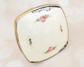 Vintage Powder Compact - Art Deco Compact - Downton Abbey - Antique Guilloche - Gift For Her - English Rose Birthday Gift
