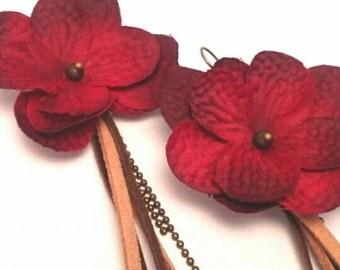 Earrings red romantic hydrangea flowers