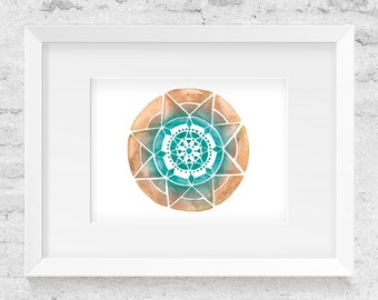 Colorful Mandala, Watercolor Illustration, Yellow & Teal - Art Print