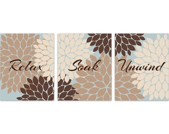 brown and blue bathroom canvas wall art relax soak unwind prints brown and tan