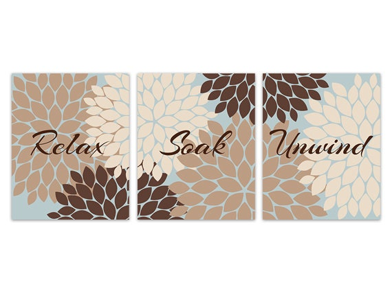 brown and blue bathroom canvas wall art relax soak unwind prints