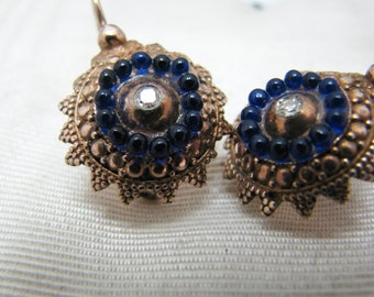 Lovely Vintage Sterling Silver Earrings with White stones and Blue stones
