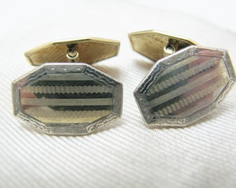 Vintage Eight Sided Two Tone Etched Cuff links by S & C