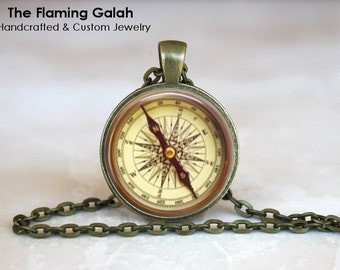 COMPASS ROSE Pendant • Vintage Compass • Old Compass • Nautical Compass • Gift for a Sailor • Gift Under 20 • Made in Australia (P1095)